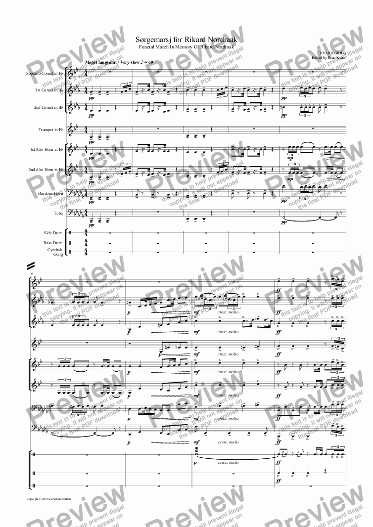page one of Grieg: Sørgemarsj over Rikard Nordraak | Funeral March in memory of Rikard Nordraak (Griegs own transcr. for Brass Ensemble)