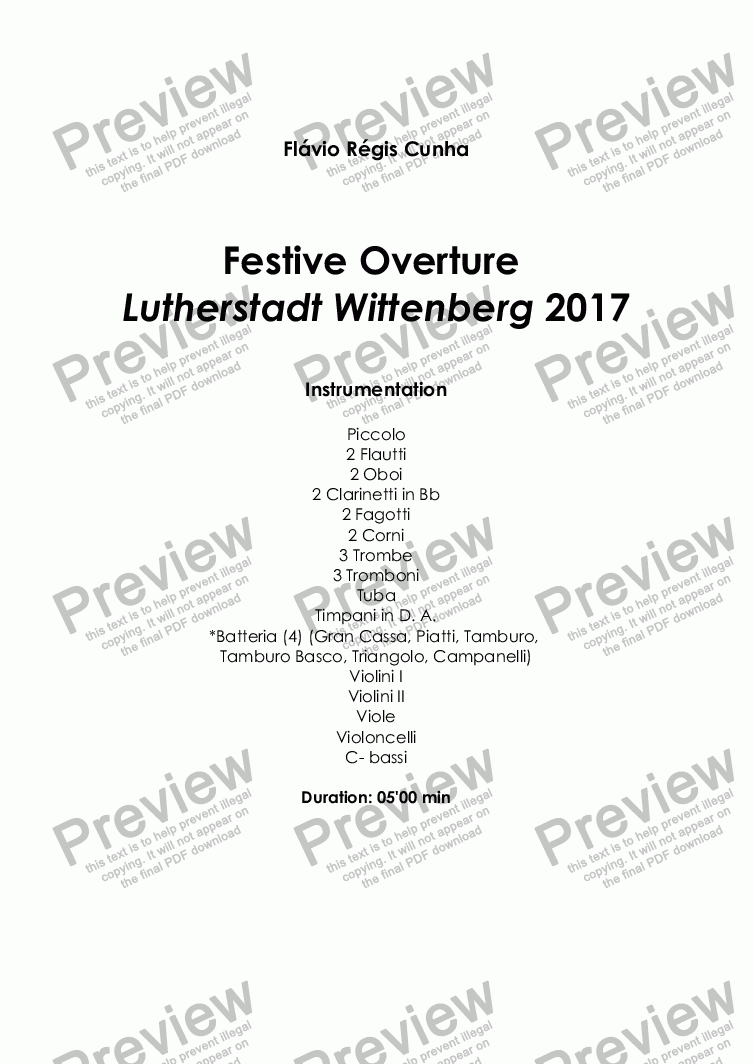 page one of Festive Overture Lutherstadt Wittenberg 2017