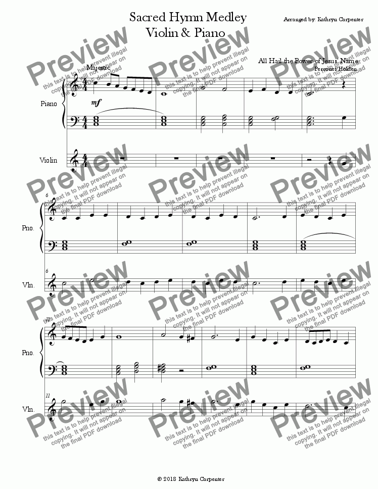 "page one of ""Sacred Hymns Collection"" (Easy Piano & Violin)"