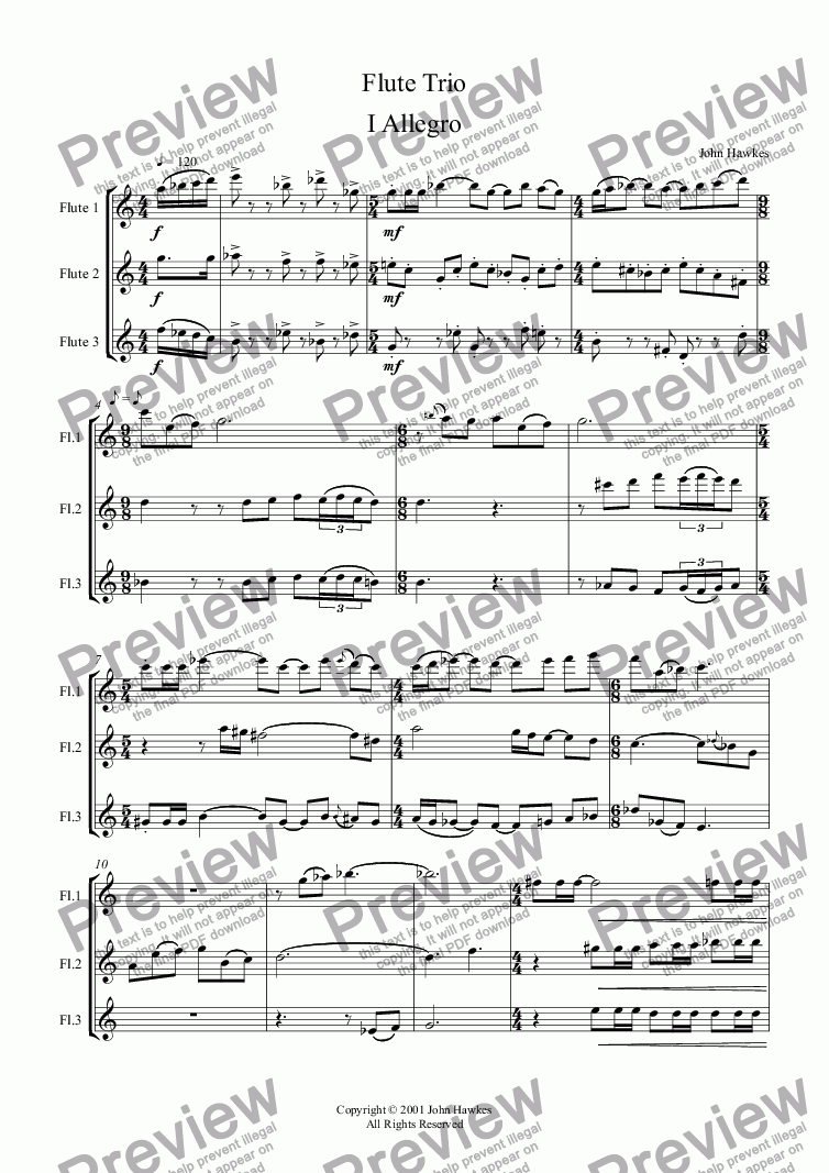 page one of Flute Trio