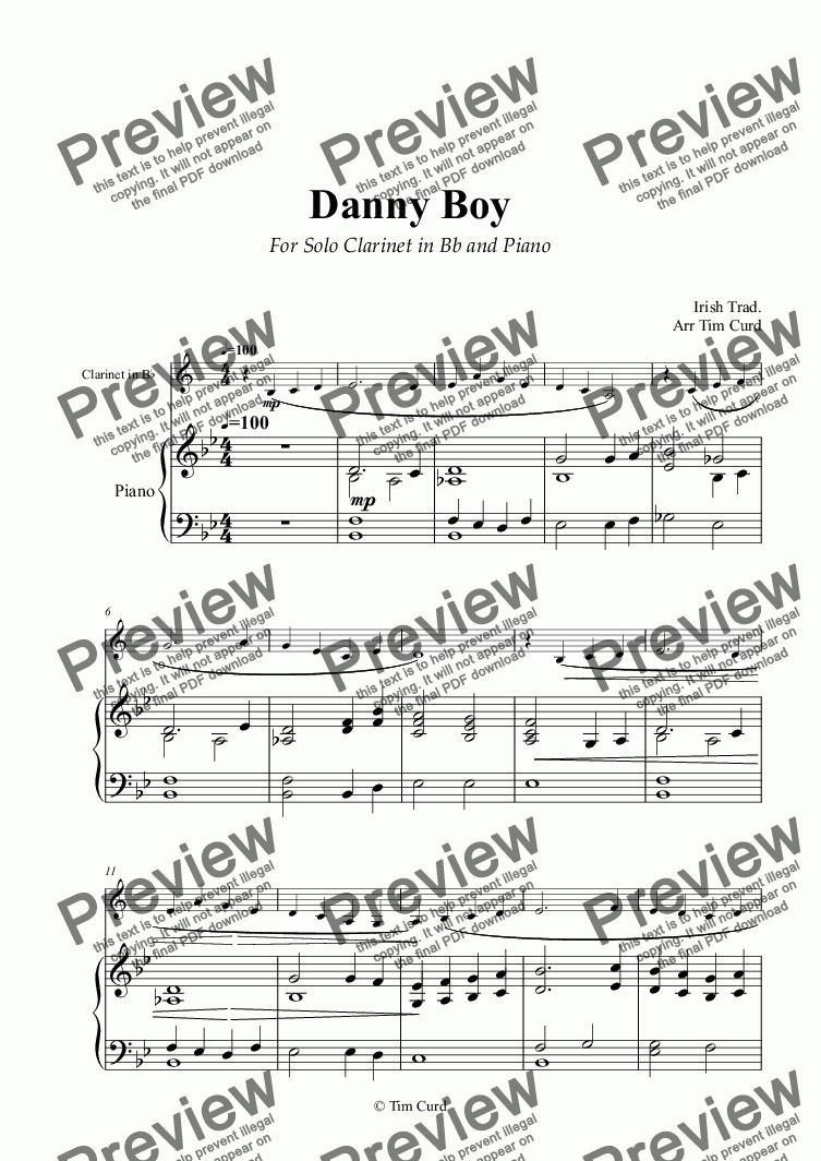 Danny Boy for Solo Clarinet in Bb and Piano for Solo Clarinet in Bb + piano  by Trad  - Sheet Music PDF file to download