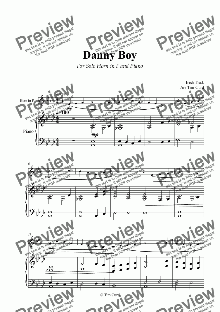 page one of Danny Boy for Solo Horn in F and Piano