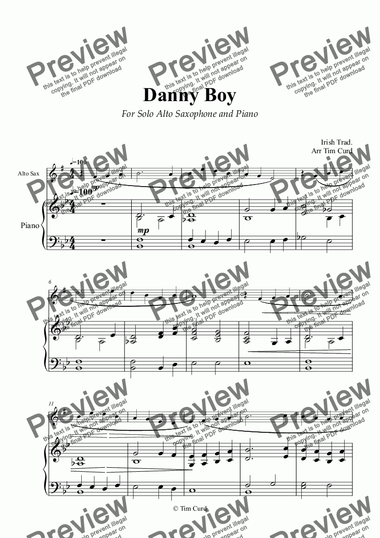 page one of Danny Boy for Solo Alto Saxophone in Eb and Piano