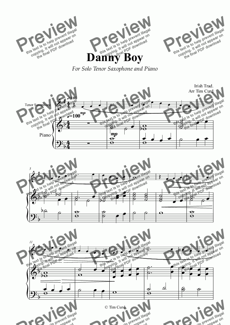 Danny Boy for Solo Tenor Sax in Bb and Piano for Solo Tenor Saxophone +  piano by Trad  - Sheet Music PDF file to download