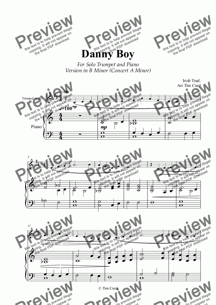 page one of Danny Boy for Solo Trumpet in Bb and Piano