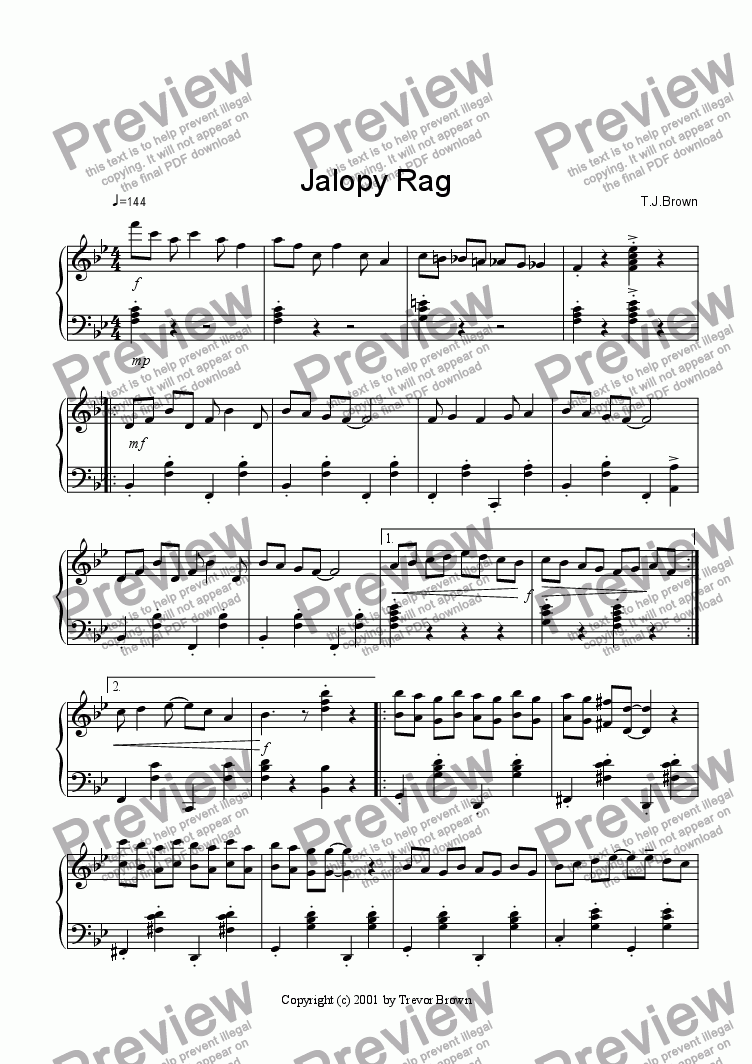 page one of Jalopy Rag