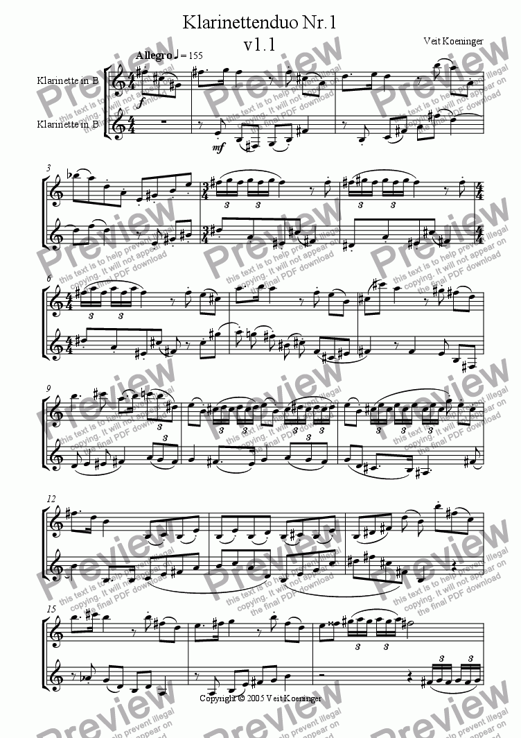 page one of clarinet duo 1