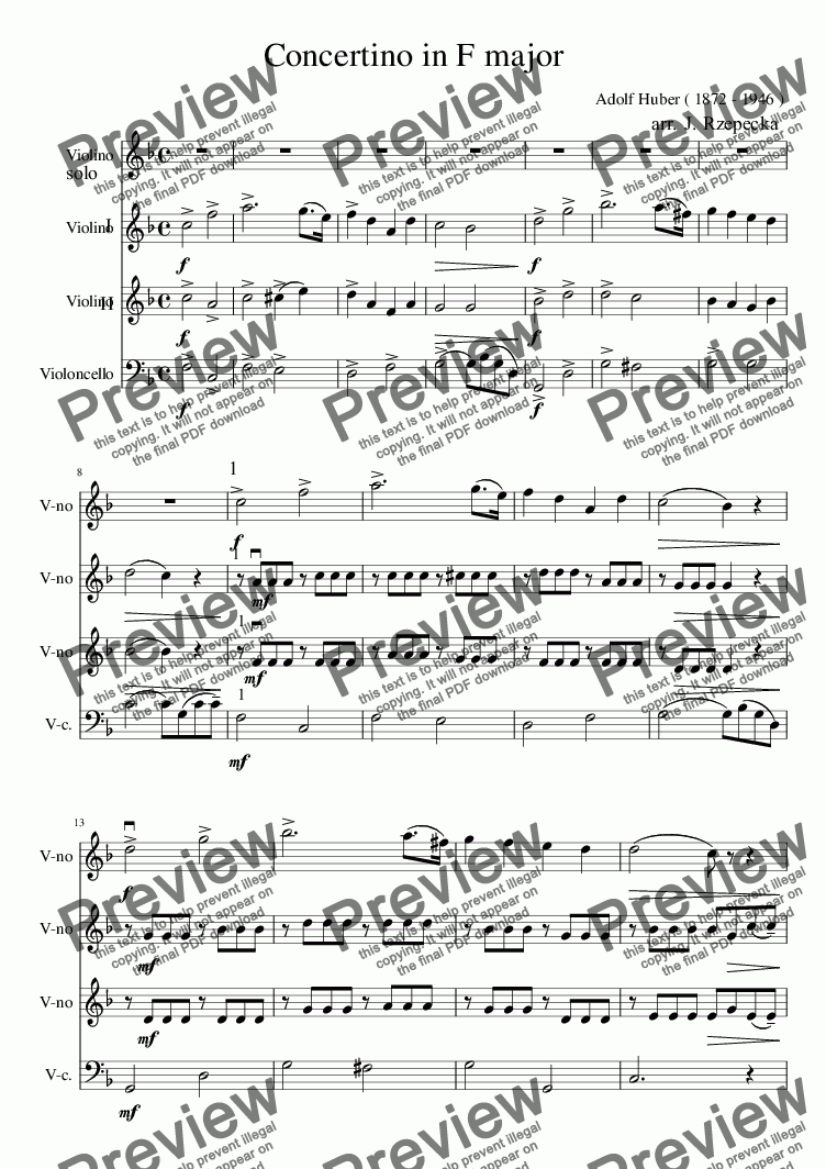 page one of Huber Concertino sc.