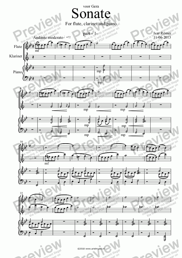 page one of Sonate for flute, clarinet and piano - Part 1