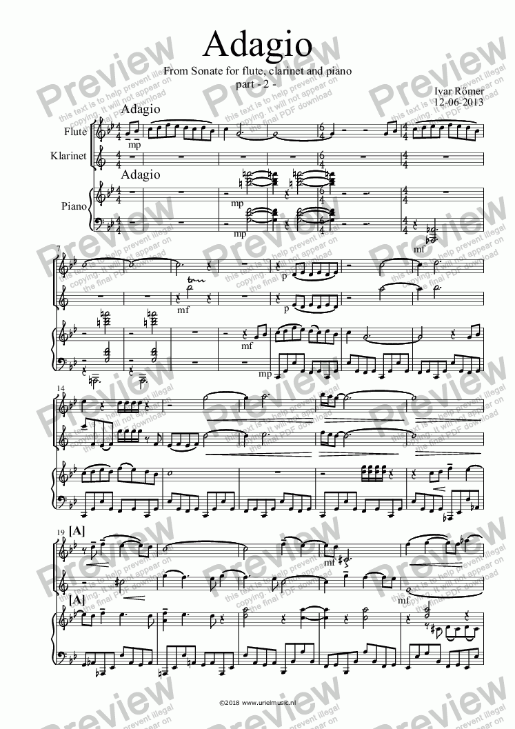 page one of Sonate for flute, clarinet and piano	- Part 2