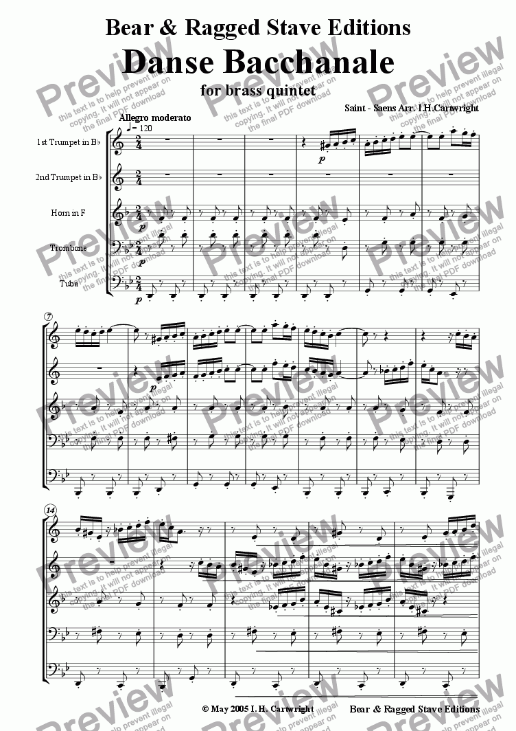 page one of Danse Bacchanale for brass quintet