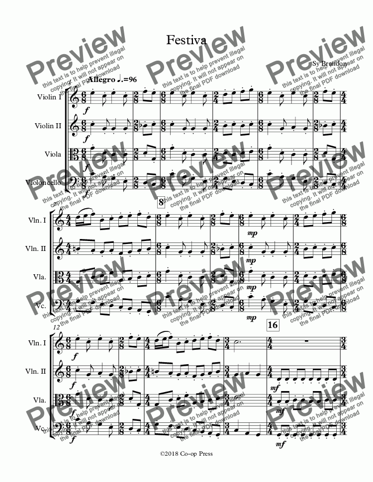 page one of Festiva for String Quartet