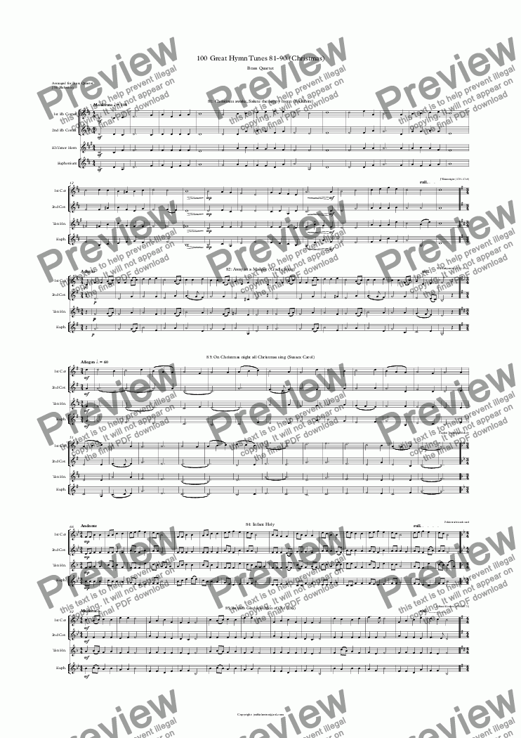 page one of 100 Great Hymn Tunes 81-90 (Christmas) Brass Quartet