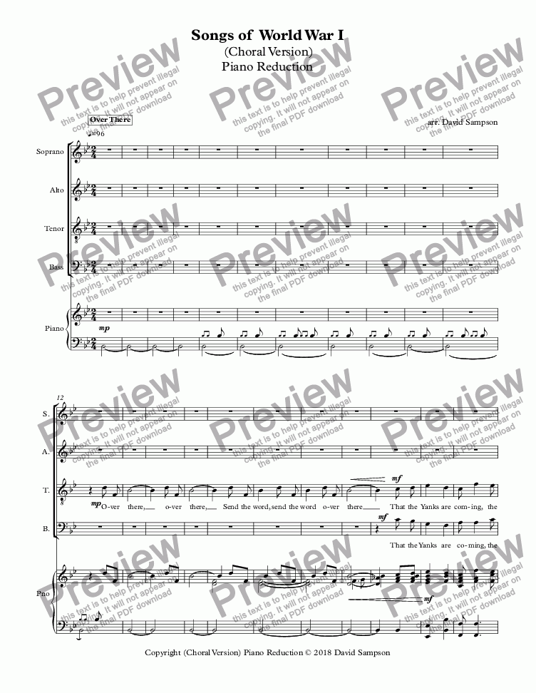 page one of Songs of  World War I - Choral - Piano Reduction