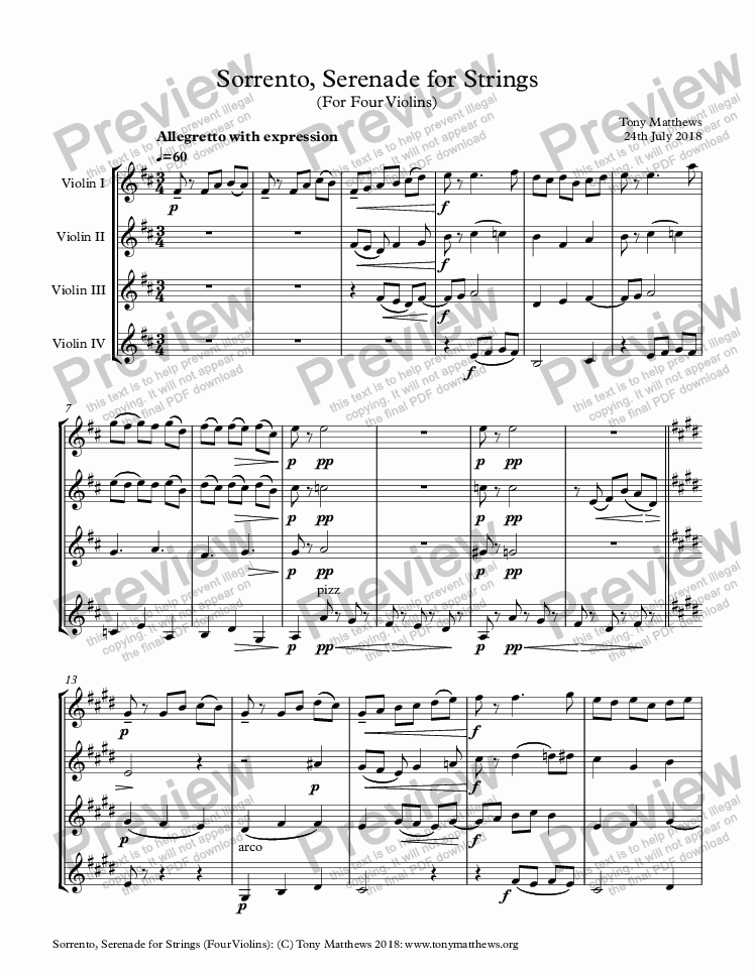 83a1c3d405 Sorrento, Serenade for Strings (For Four Violins) - Download PDF file