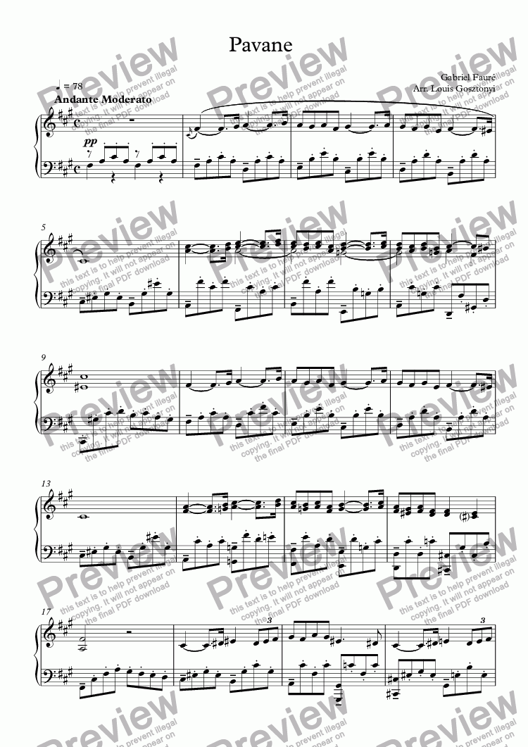 page one of Pavane by Fauré (Piano Solo Arrangement)