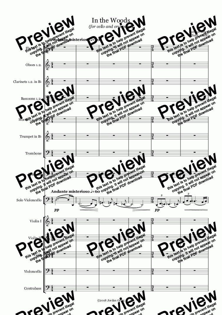 page one of In the Woods (for cello and orchestra) - Score and parts