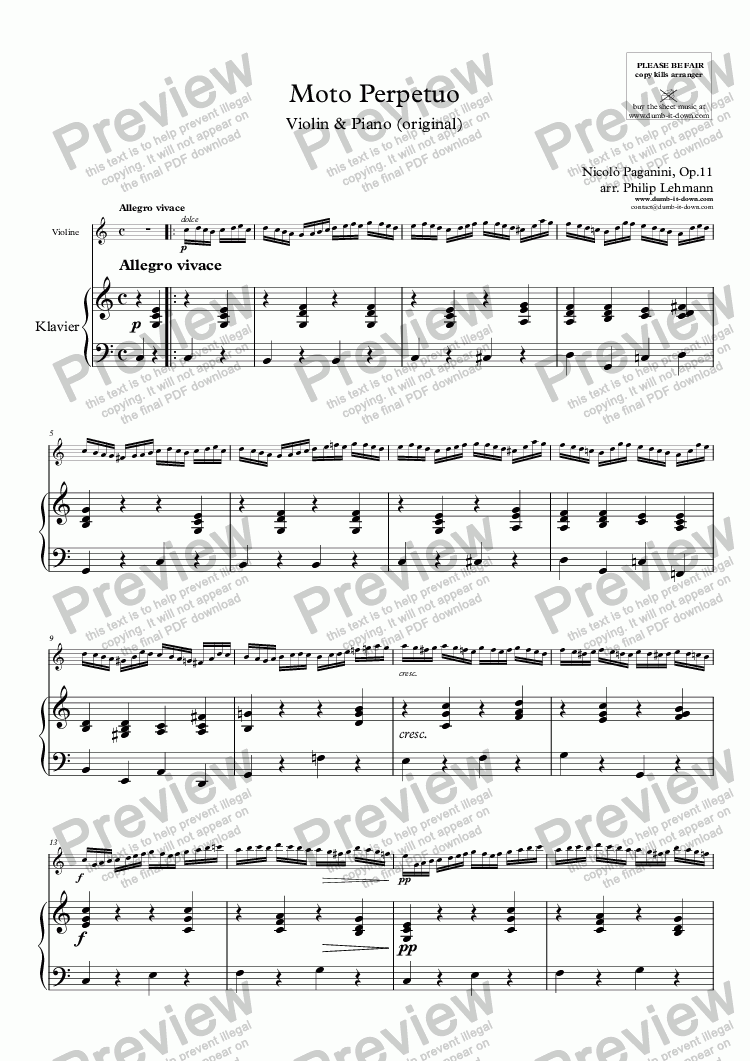 page one of Paganini, N. - Moto Perpetuo, Op.11 - for Violin & Piano (orig.)