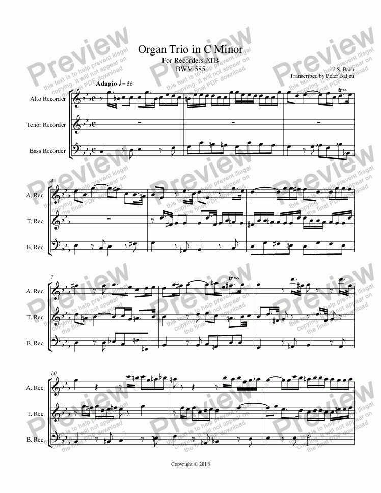 page one of Bach  Trio in C Minor for Recorders ATB