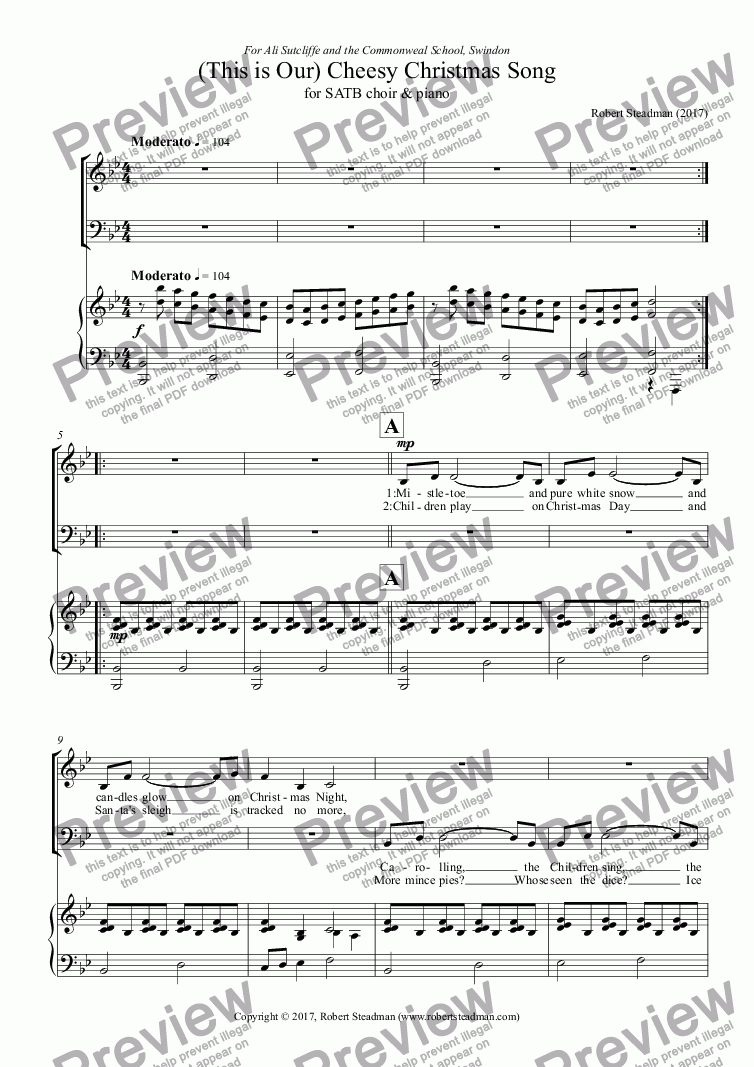 This is Our) Cheesy Christmas Song - Download Sheet Music PDF file
