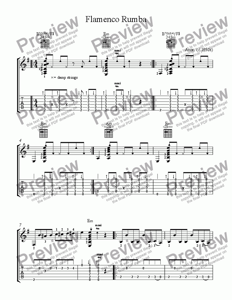 page one of Flamenco Rumba