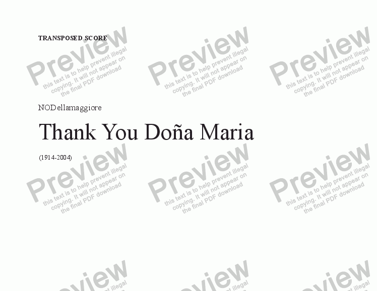 page one of Thank you Doña Maria -Transp. Score