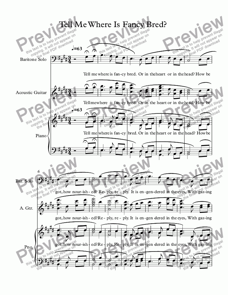 page one of Tell Me Where Is Fancy Bred (Vocal Solo, Soprano or Tenor)