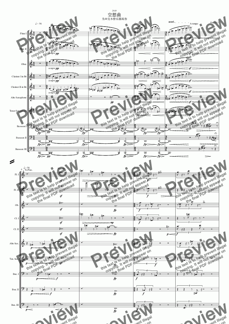 page one of Fantasy for 10 Woodwinds