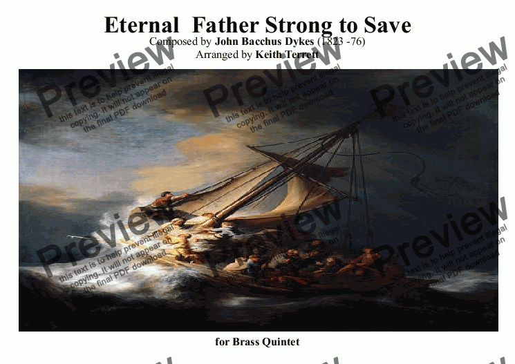 page one of Eternal Father Strong to Save (Naval Hymn) for Brass Quartet-Quintet (Traditional version)