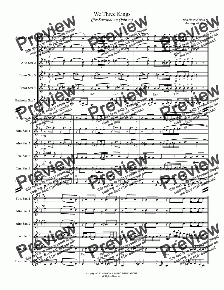 page one of We Three Kings (for Saxophone Quintet SATTB or AATTB)
