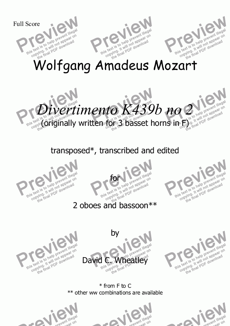 page one of Mozart - Divertimento K439b no 2 for 2 oboes and bassoon transcribed by David Wheatley