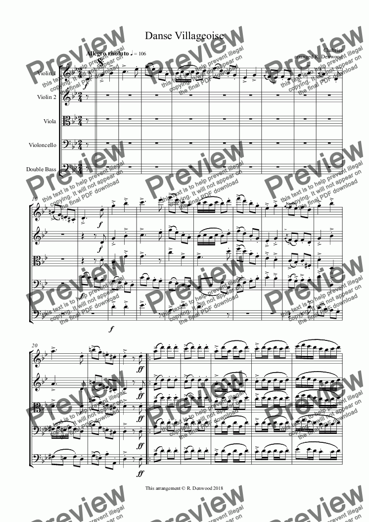 page one of Chabrier - Danse Villageoise for string orchestra
