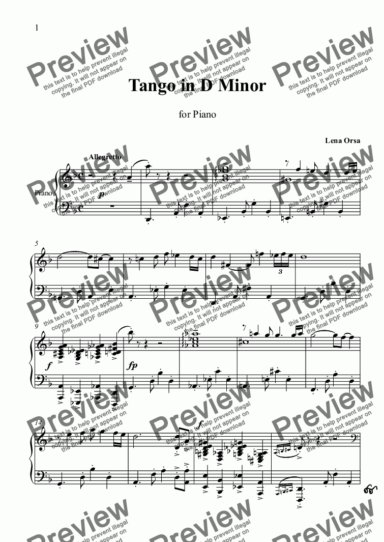 page one of Tango in D Minor