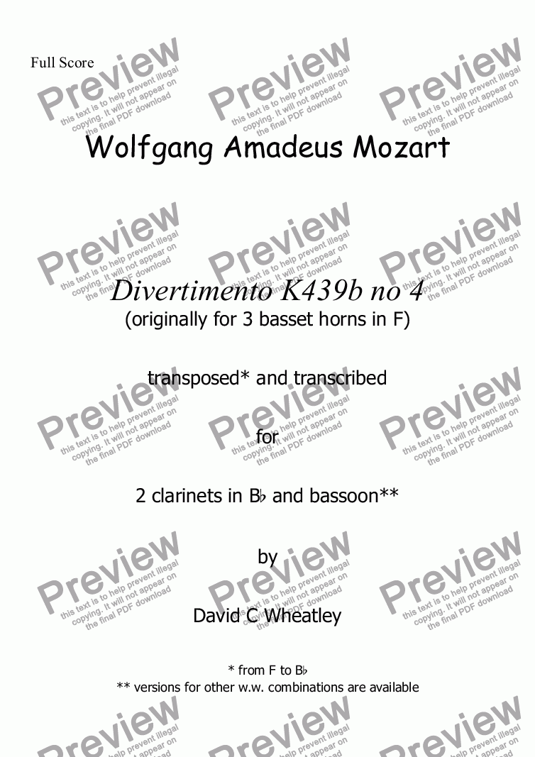 page one of Mozart - Divertimento K439b no 4 for 2 clarinets and bassoon transcribed by David Wheatley