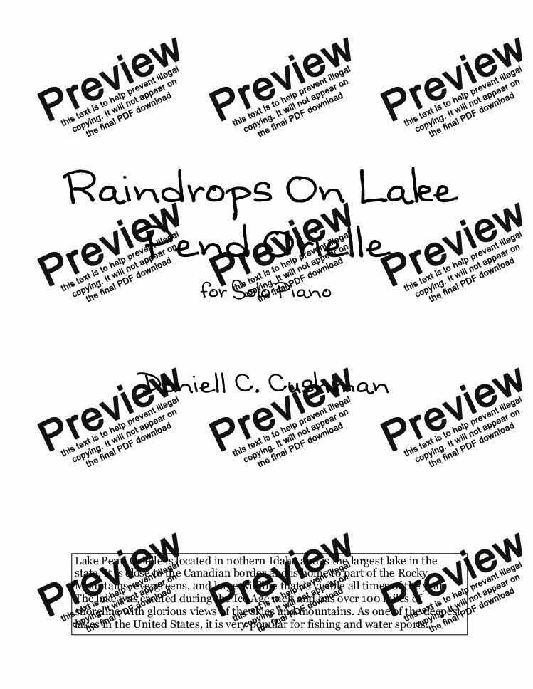 page one of Raindrops On Lake Pend Orielle