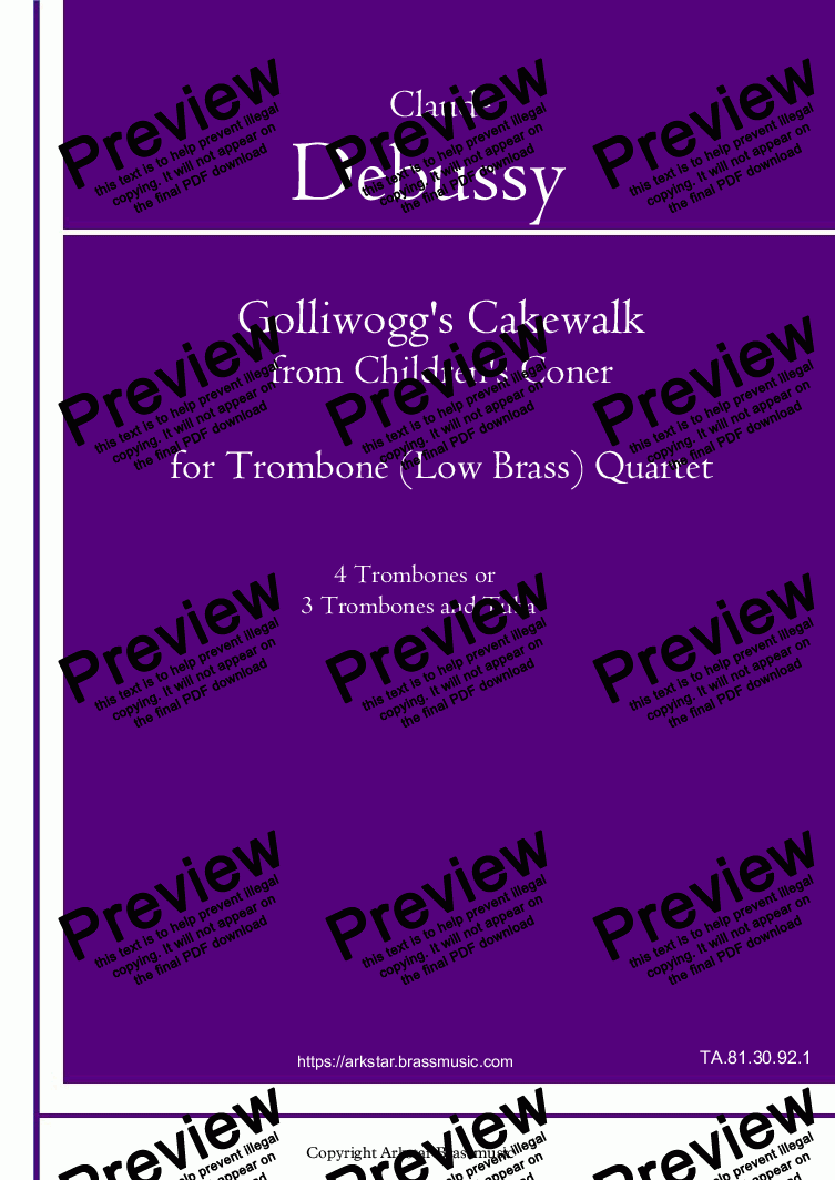 "page one of Debussy: ""Golliwogg's Cakewalk"" de Chilren's Corner for Low Brass(Trombone) Quartet"
