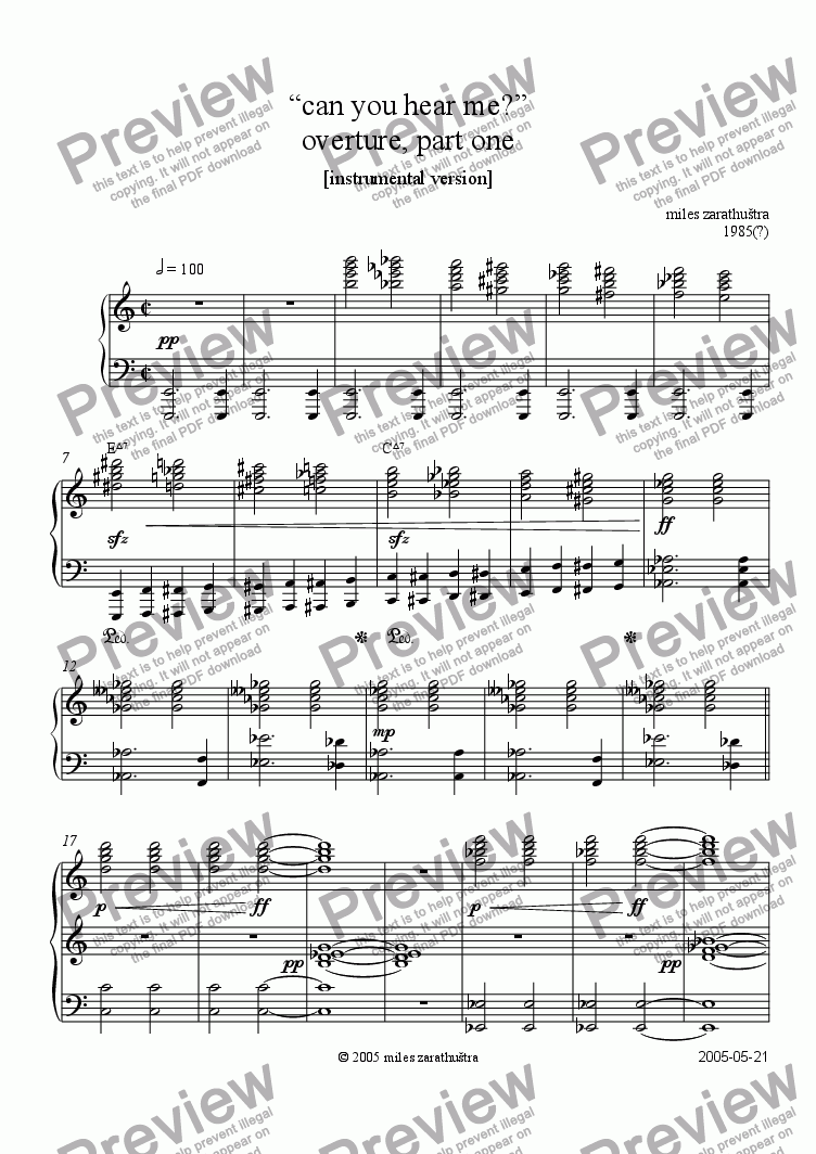 page one of can you hear me? - overture, part IASALTTEXT