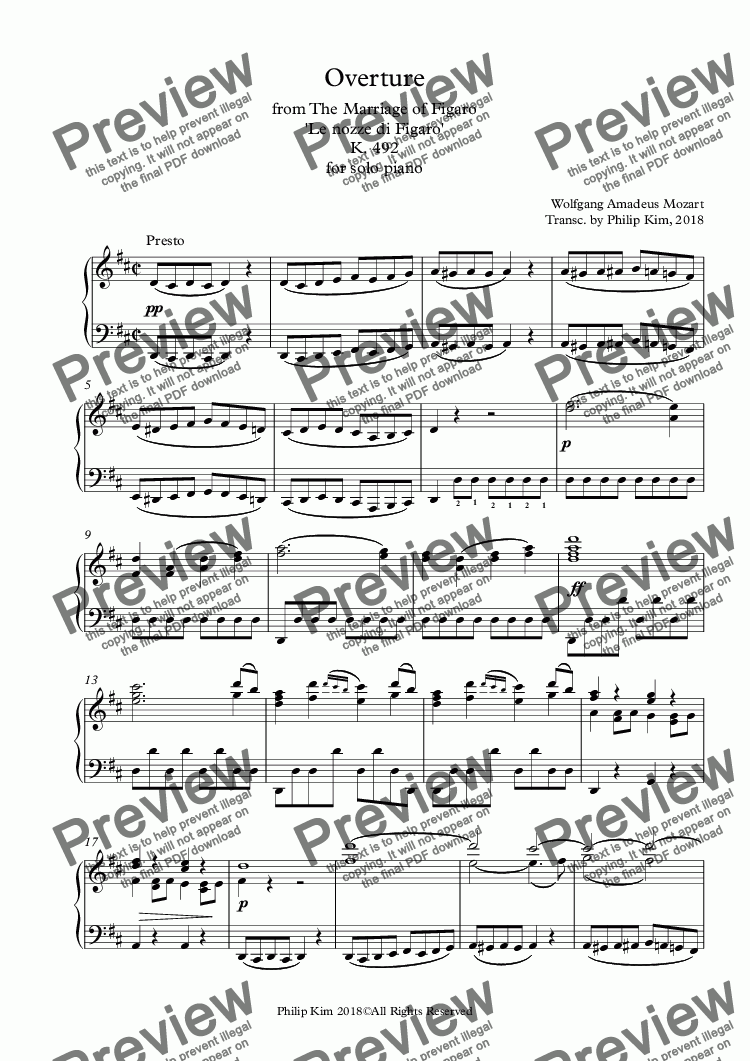 page one of Overture to The Marriage of Figaro 'Le nozze di Figaro' for advanced solo piano