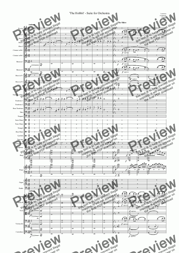 page one of 'The Hobbit' - Suite for Orchestra