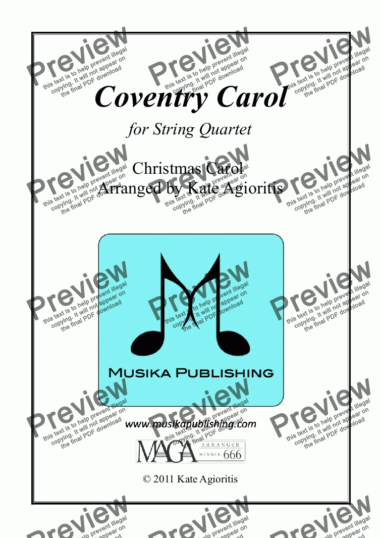 page one of Coventry Carol - Jazz Arrangement for String Quartet