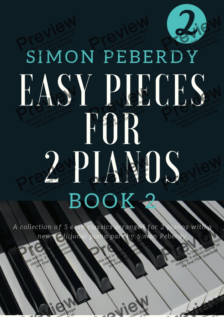 page one of 5 Easy Pieces for 2 pianos (Book 2) Classics arranged by Simon Peberdy