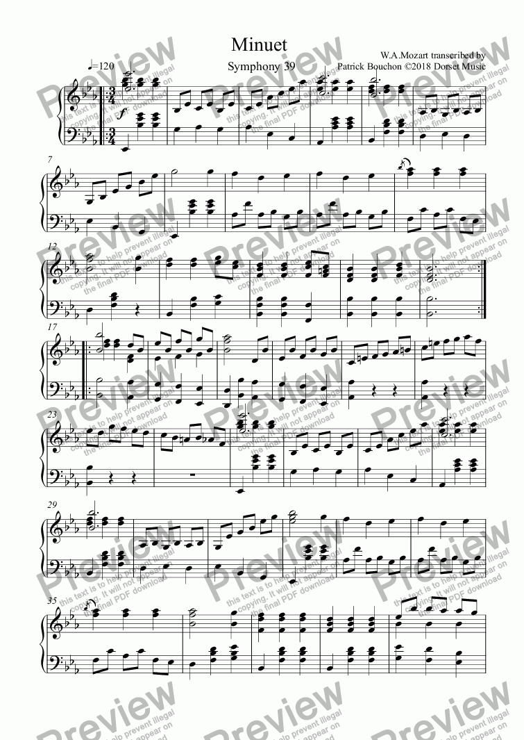 page one of Mozart - Symphony 39 - Minuet for piano