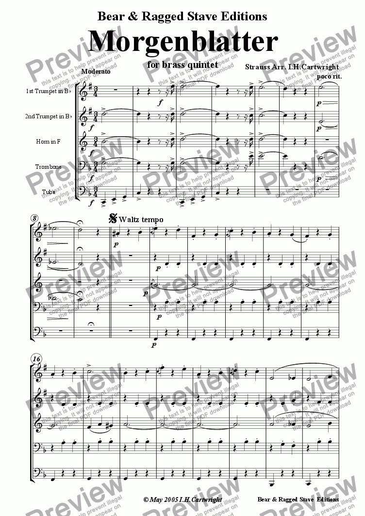 page one of Morgenblatter for Brass Quintet