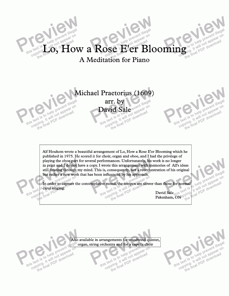 page one of Lo, How a Rose E'er Blooming (piano)