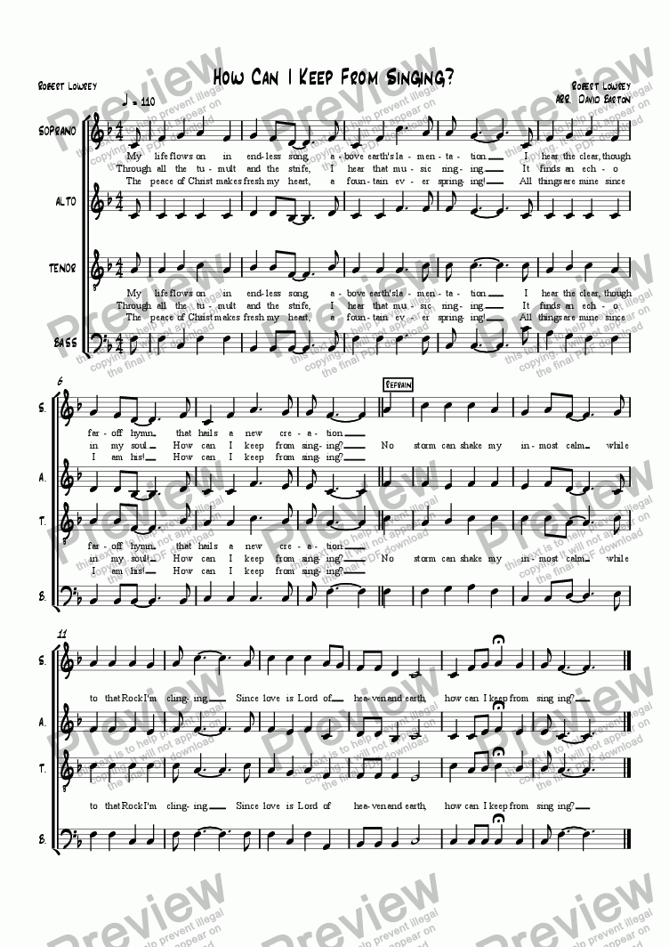 "page one of ""How Can I Keep From Singing"" Hymn"