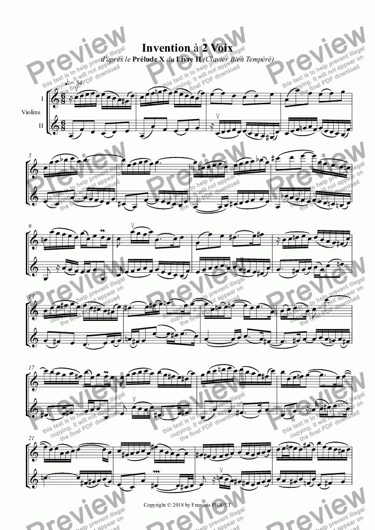 page one of Two Parts Invention for 2 violins in A minor