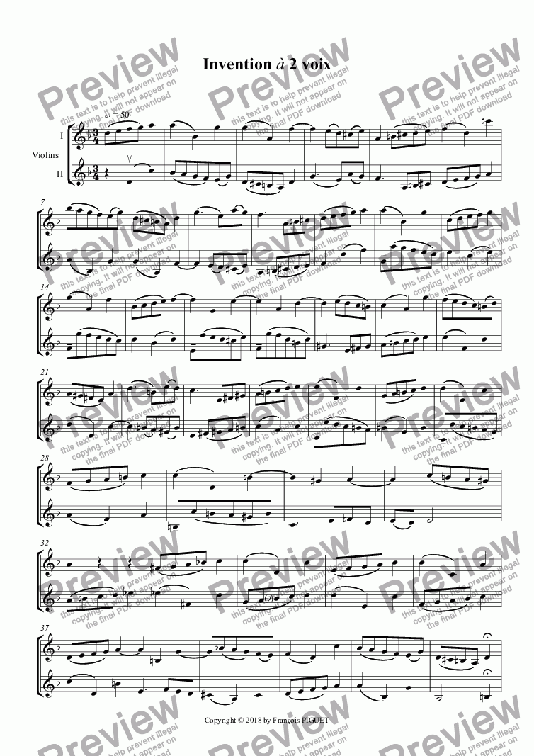 page one of Two Parts Invention for 2 violins in D minor