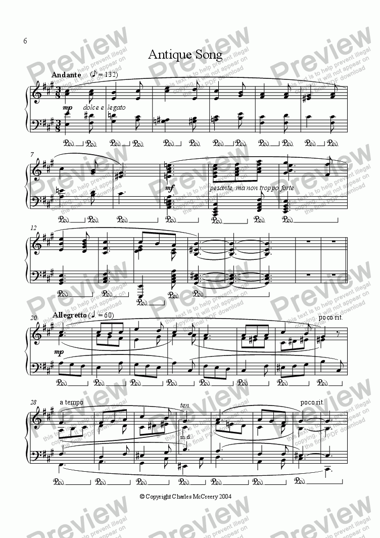 page one of Antique Song