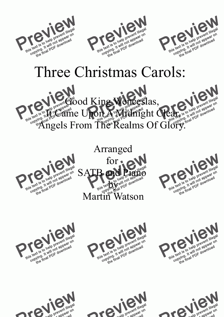 page one of Three Christmas Carols for SATB and Piano