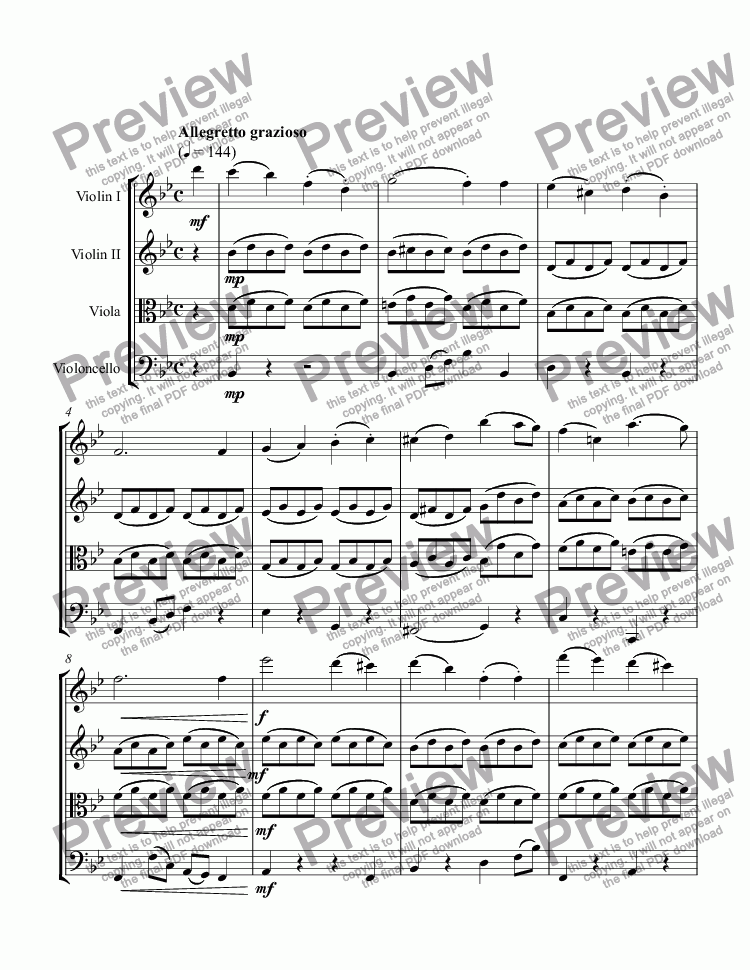 page one of String Quartet No. 2 in B-flat Major (4th mvt)